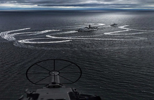 View of HMS Sutherland and HMS Hurworth manoeuvring during the opening stages of Joint Warrior