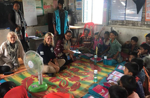 Baroness Sugg pictured visiting a UNICEF learning centre in Cox's Bazar, Bangladesh