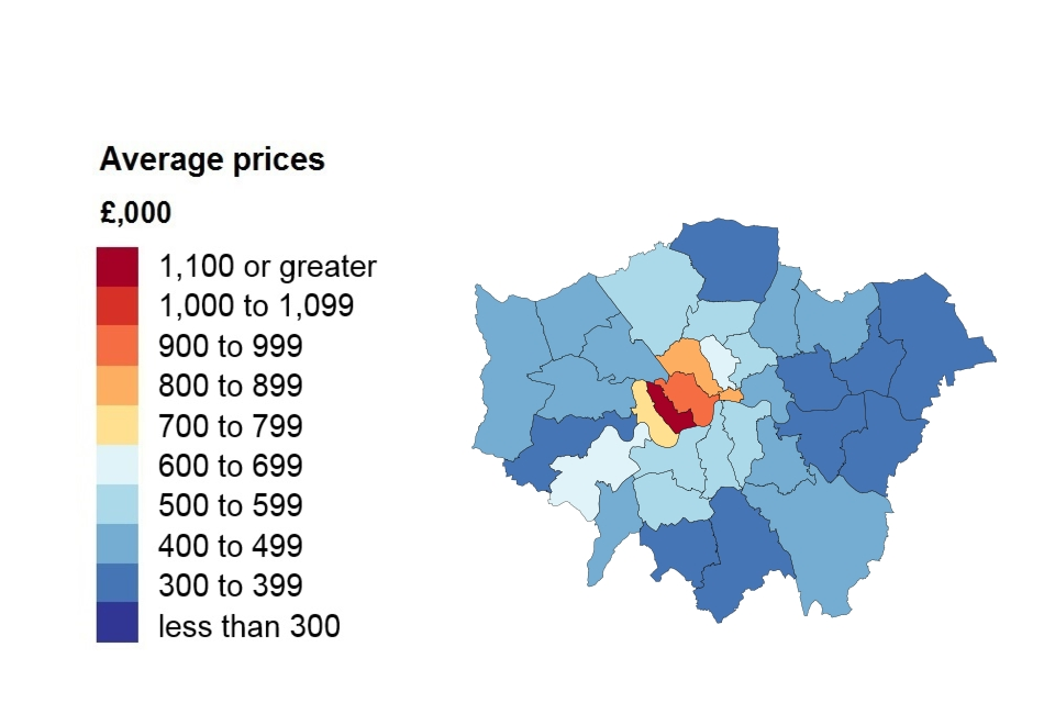 A heat map showing average price by London borough.