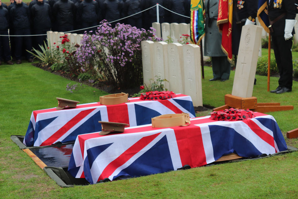 Two WW1 Soldiers Of The Royal Fusiliers (City of London Regiment) are laid to rest with full military honours.
