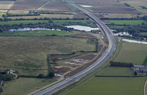 Aerial view of new A14 dual carriageway in Cambridgeshire