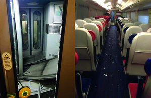 Damage to the vestibule end and debris in the saloon (left image courtesy of CrossCountry, right image courtesy of Bombardier Transportation UK).