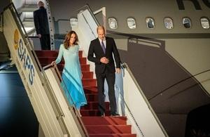 The Duke and Duchess of Cambridge arrive in Pakistan