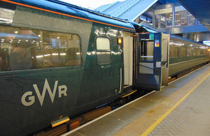 Photograph of a stationary High Speed Train with doors open (Image courtesy of GWR)