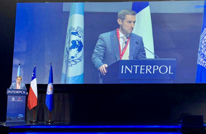 Presentation by Brett Greenwood from the UK delegation attending the 88th Interpol General Assembly in Chile