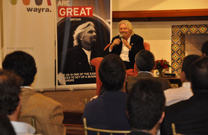 Sir Richard Branson sharing his business experiences with almost 100 Peruvian entrepreneurs