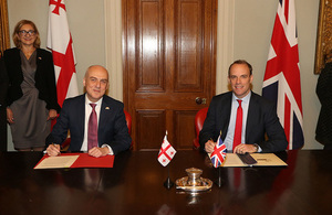 The Foreign Secretary Dominic Raab and the Georgian Foreign Minister David Zalkaliani sign the trade continuity and strategic cooperation agreement.