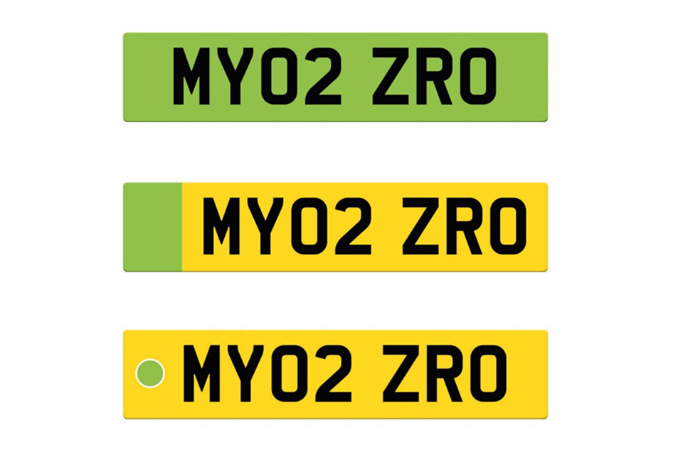 Image of the 3 licence plate designs proposed for the consultation.