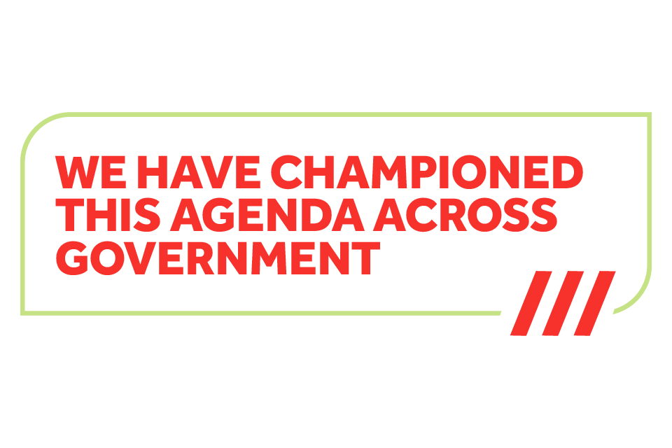 We have championed this agenda across government