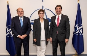 Defence Secretary Ben Wallace with German and US counterparts Annegret Kramp-Karrenbauer and Mark Esper, at the NATO Defence Ministerial