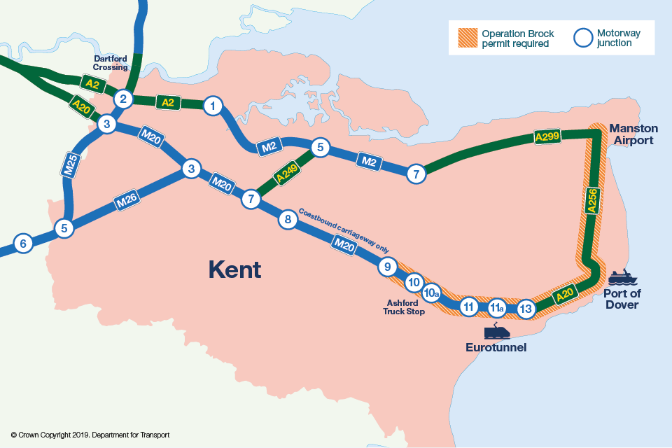 Map of approved routes in Kent for Europe-bound vehicles over 7.5 tonnes via Eurotunnel or Port of Dover.