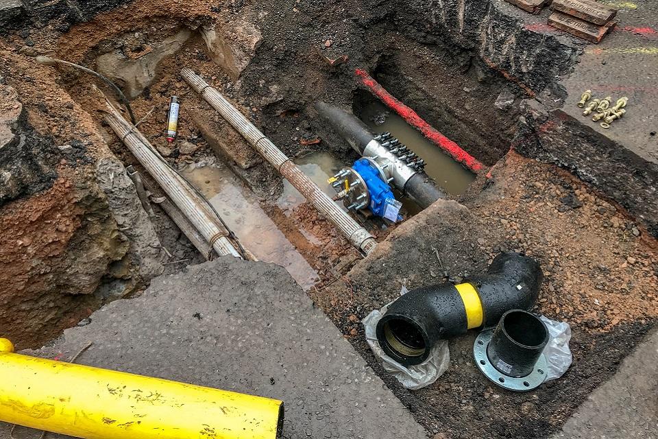 Road works utilities pipes