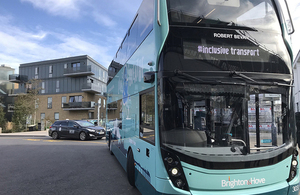 Brighton and Hove bus displaying Inclusive Transport on a digital display