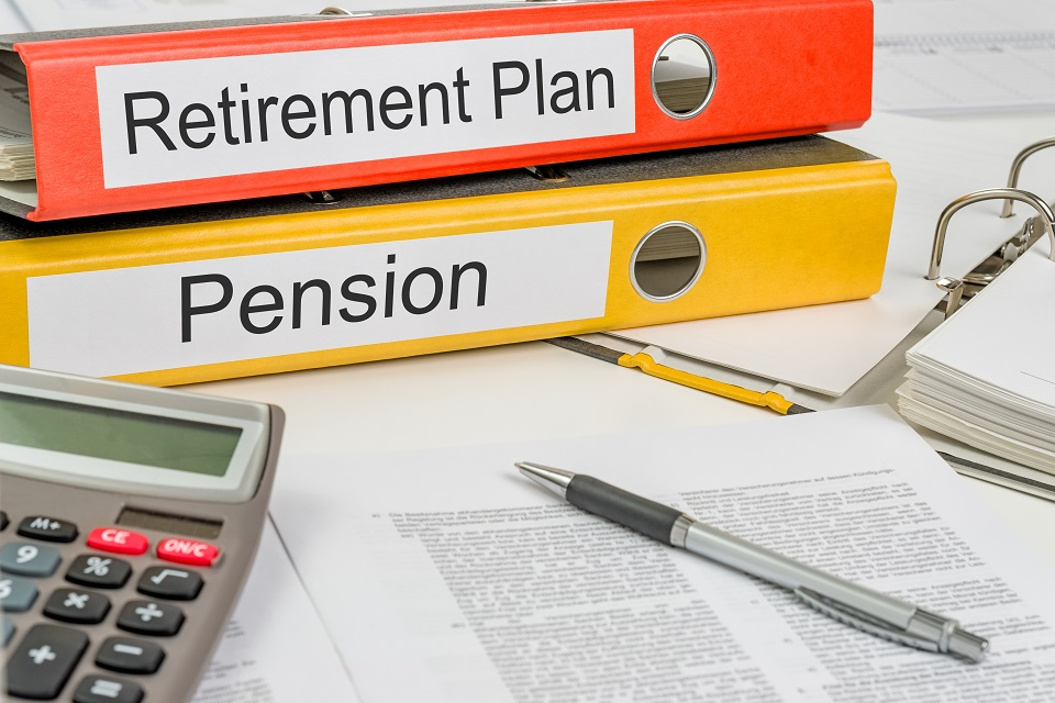 Two folders showing retirement plan and pension