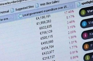 Computer screen showing local government spending