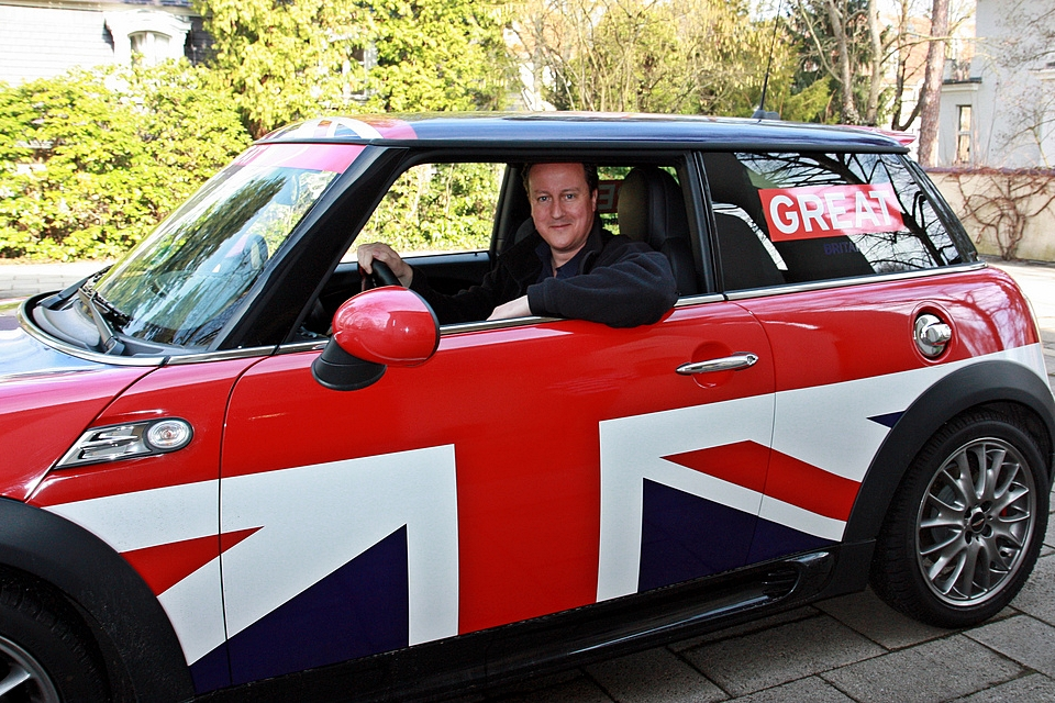 David Cameron test driving the GREAT Britain MINI