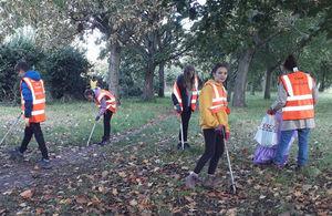 Volunteers collecting litter