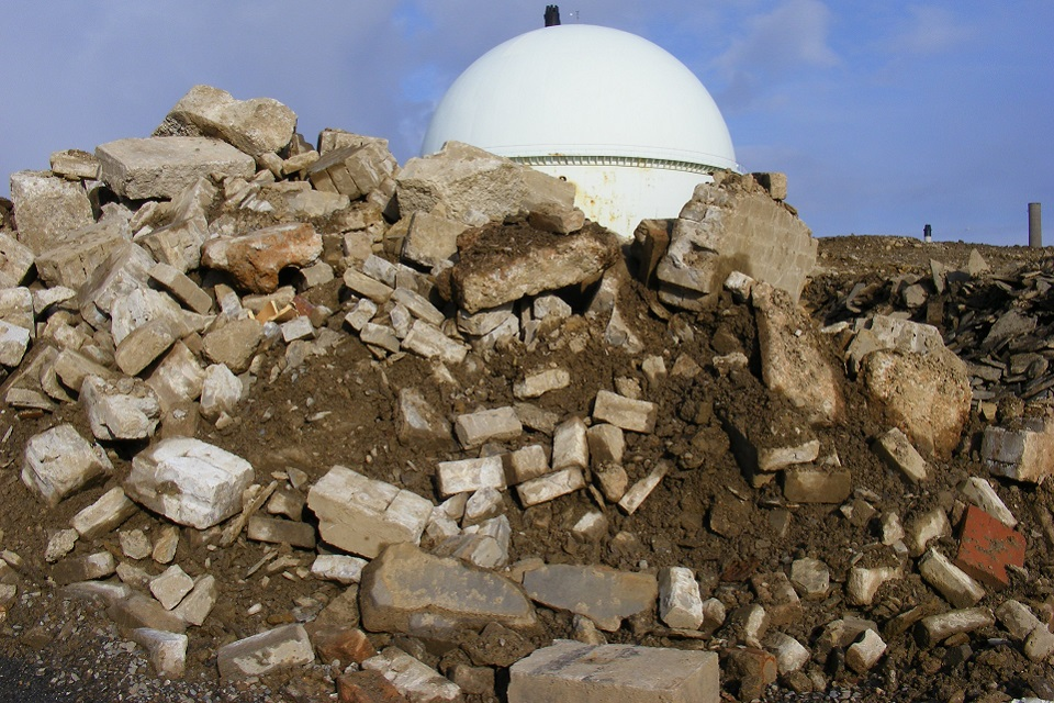 Large quantities of concrete rubble outside Dounreay's Fast Reactor