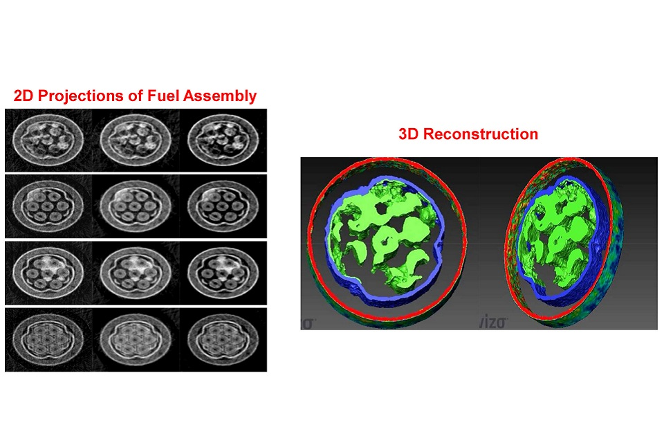 Irradiated fuel assemblies, as depicted by neutron tomography techniques