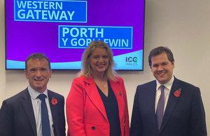 From L-R: Secretary Alun Cairns (Wales), Katherine Bennett (Airbus) and Secretary Robert Jenrick (MHCLG)