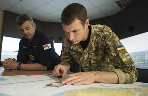 A Royal Navy training team works with Ukrainian instructors and recruits to train them in ship navigation, firefighting and damage repair.