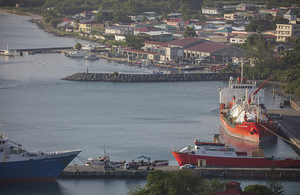 Ship docked in a port in St Lucia