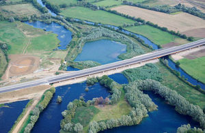 The 750-metre long viaduct carries the new A14 over the River Great Ouse
