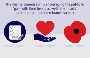 "A checklist, a heart and a Poppy. It has text which says ""The Charity Commission is encouraging the public to give with their heads as well as their hearts in the run up to Remembrance Sunday""."