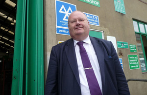 Eric Pickles outside Wandsworth MOT centre