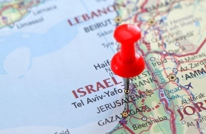 map showing Israel with a pin in it