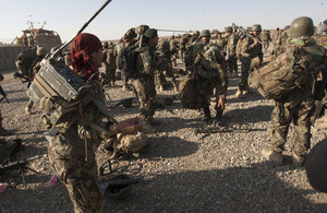 Soldiers from 3/215 Brigade of the Afghan National Army prepare to deploy on Operation Tuffan in the Nad 'Ali area of Helmand (library image) [Picture: Corporal Jamie Peters, Crown copyright]