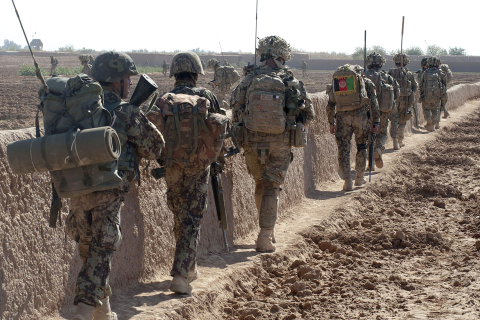 A patrol of Afghan National Army warriors