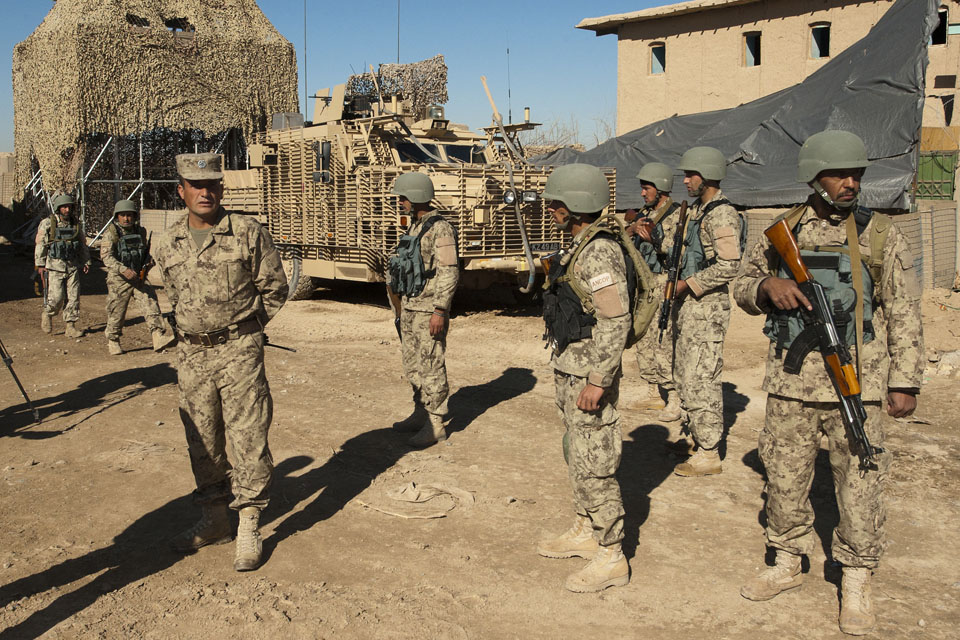 Members of the Afghan National Civil Order Police at Patrol Base Pan Kalay (library image)