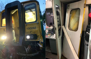 Photographs showing damage to the train following the collision (images courtesy of Network Rail)