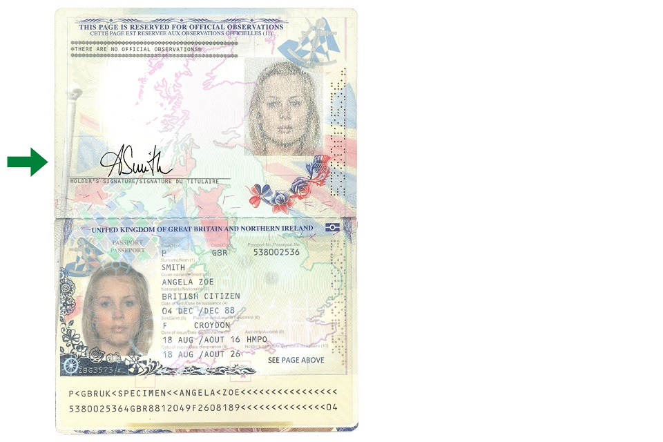 Image of a burgundy passport showing where to sign it