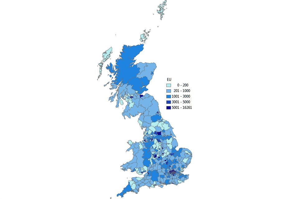 Most registrations are shown to be in London, and other large urban areas