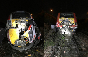 Photographs showing the class 800 train (left) and HST set (right) involved in the accident (images courtesy of Network Rail)