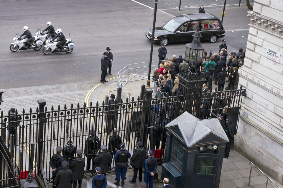 Lady Thatcher's funeral cortege