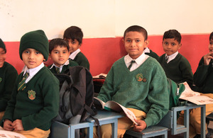 Humza Iqbal, with his classmates at Shadab Public High School, Lahore. Picture: Victoria Francis/ DFID