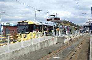A photograph showing a Manchester Metrolink tram at Ashton-under-Lyne