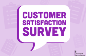 Purple Speech Bubble that reads 'Customer Satisfaction Survey'