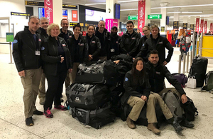 The UK Emergency Medical Team being deployed to Samoa pictured at Manchester Airport. Picture: DFID/Hannah Zainuddin