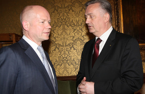 Foreign Secretary William Hague with Dr. Zlatko Lagumdzija, Minister of Foreign Affairs of Bosnia and Herzegovina in London, 17 April 2013.