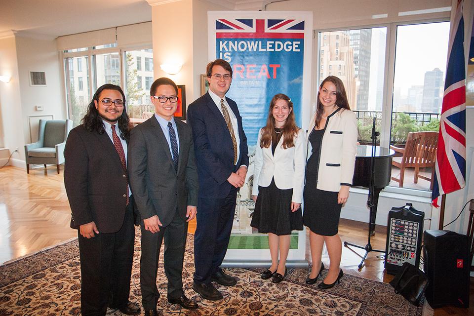 The five scholars (from left to right): Nicolas Montano, Dillon Liu, Benjamin Buchanan, Victoria Solomon, and Jessica Mason.