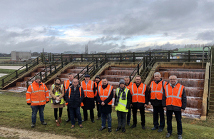 The delegation from Poland are pictured visiting the A Winning mine water treatment scheme with Chris Satterley, our technical research and development manager.