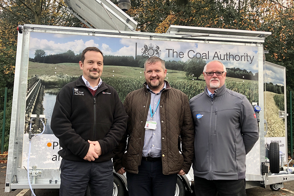 Pictured, from left, are: Andrew Hargreaves, Coal Authority operations contract service manager; Rob Button, Severn Trent Services operations manager; and Stuart Lea, director at Leada Engineering Ltd.
