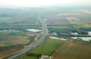 The new, 12-mile A14 Huntingdon southern bypass before it opened to traffic on 9 December 2019.