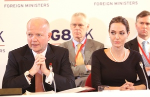 Foreign Secretary William Hague with UN High Commissioner for Refugees Angelina Jolie
