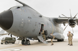 An A400M aircraft has been deployed from the Falkland Islands. Crown copyright.