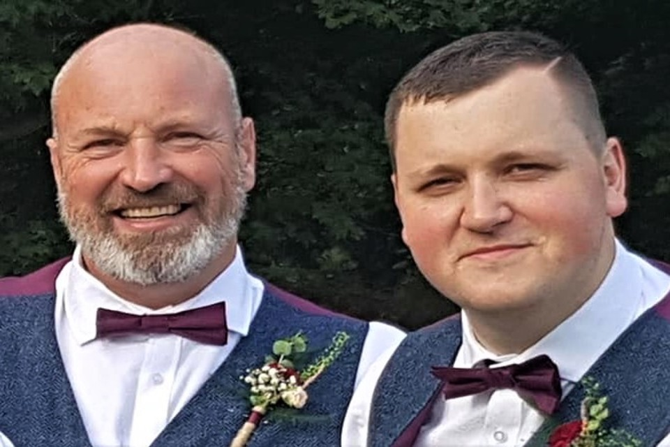 Nick and Phil Shaw, pictured at a family wedding, who will be working Christmas Day together.